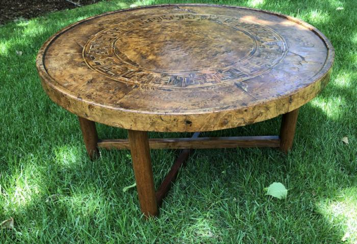Vintage Continental burl elm round coffee table