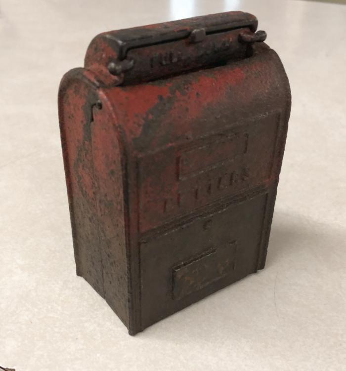 Antique cast iron penny bank postal box c1900