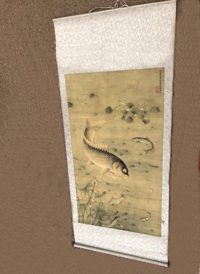Chinese hanging silk scroll of koi fish