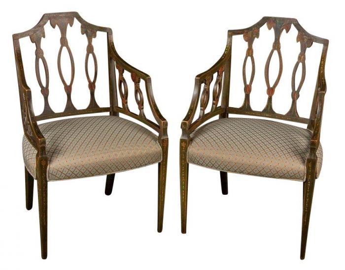 Pair George III Painted Arm Chairs