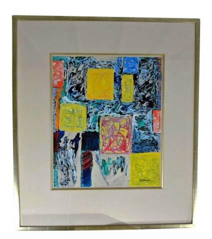 Merv Slotnick Abstract Expressionist Mixed Media Painting on Vinyl