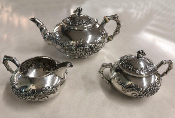 19th c  Chinese sterling silver cream and sugar