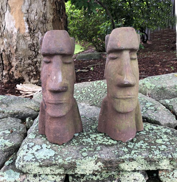 Vintage Easter Island cast iron sculptures c1930