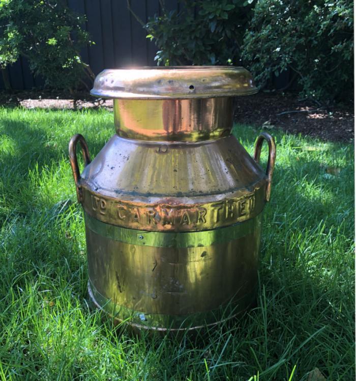 Large antique Welsh copper milk can