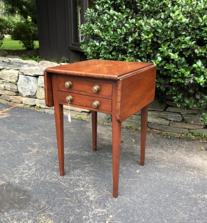 Period country Sheraton cherry night stand work table c1820