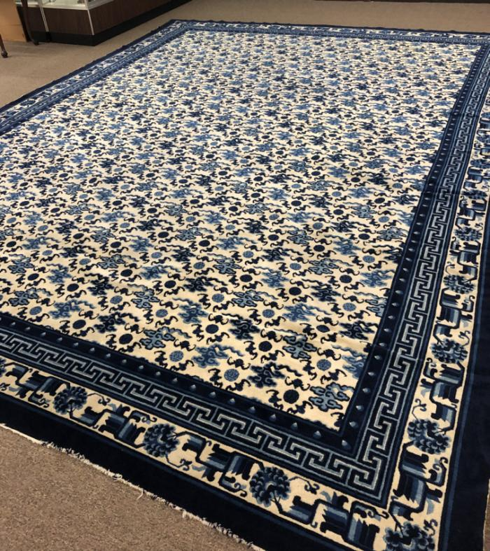 Antique Chinese blue and white carpet
