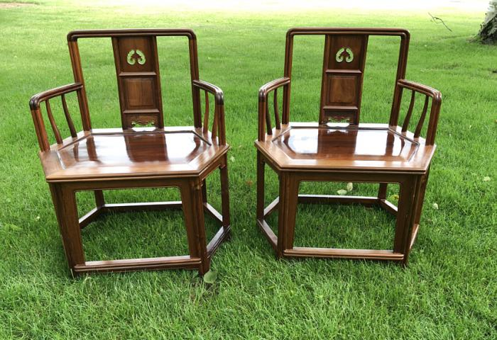 Pair of 19thc  Chinese hardwood hat arm  chairs