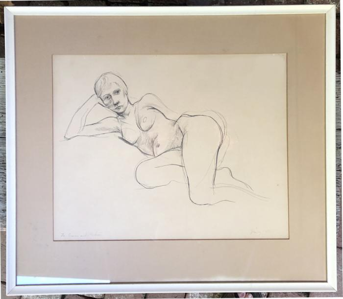 William Bailey framed drawing of a nude woman 1960