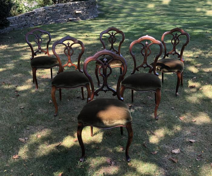 Antique French walnut dining chairs c1860