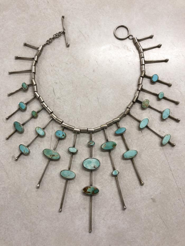 Silver and turquoise star burst necklace c 1900