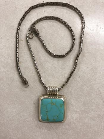 Image of Vintage sterling and turquoise pendant necklace
