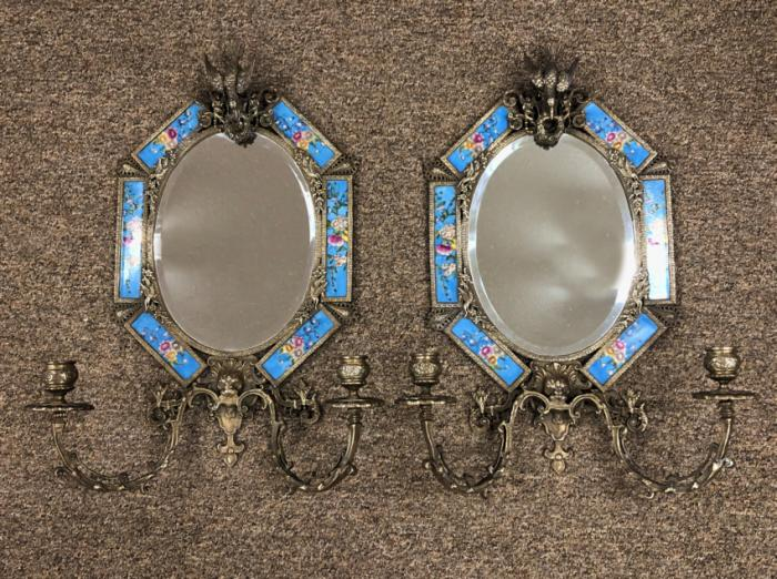 Bronze and tile Aesthetic Movement mirror sconces c1880
