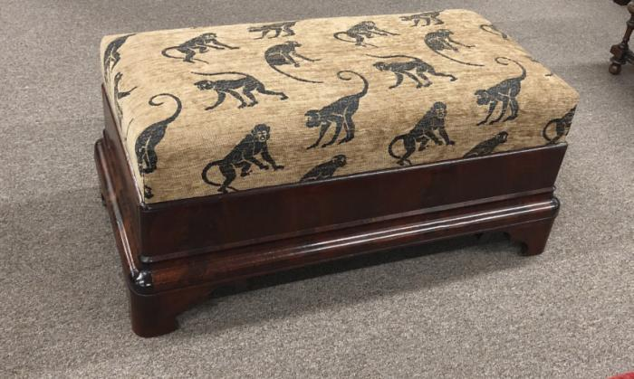 American Federal Empire ottoman with monkey upholstery c1830