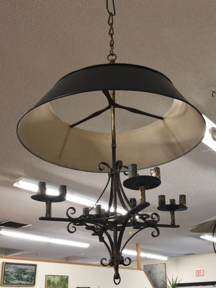 Candle chandelier with tin shade