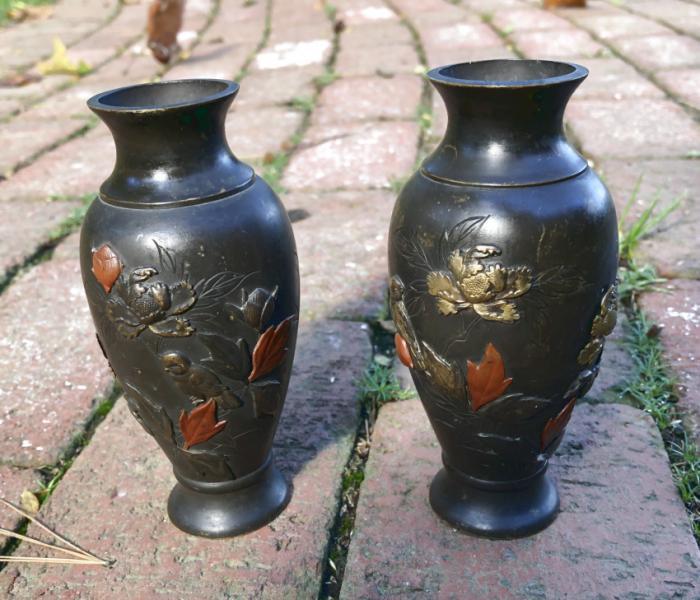 Pair of bronze Japanese Meiji vases