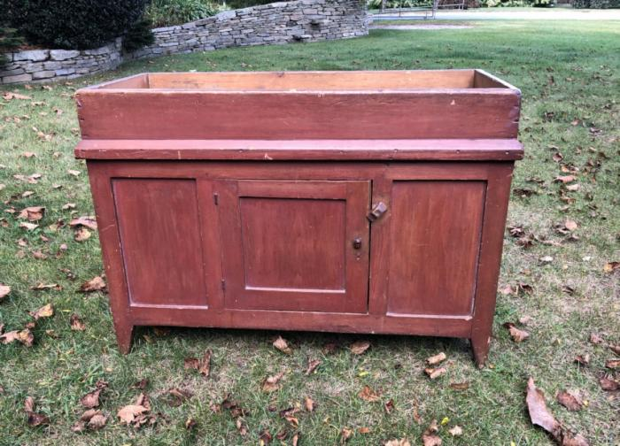 Early American dry sink in red paint c1800