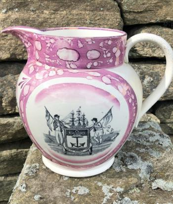 Image of English Sunderland lusterware jug c1830
