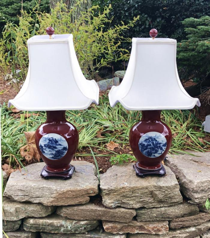 Chinese oxblood lamps with landscape medallions