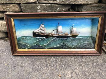 Image of Antique ship diorama Sail Screw Steamer De Ruyter