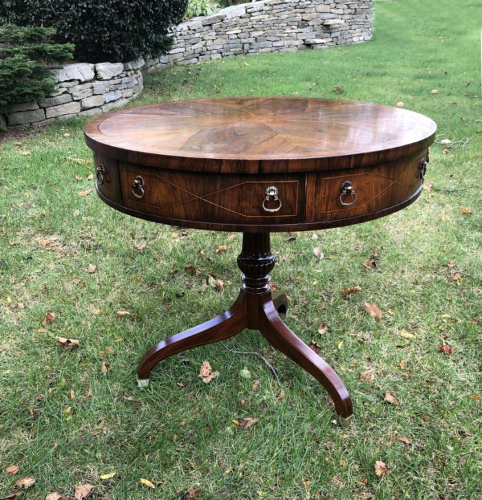 English Regency style rosewood and mahogany game drum table w drawers c1900
