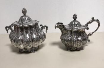 Image of B Gardiner Philadelphia coin silver sugar and cream c1814