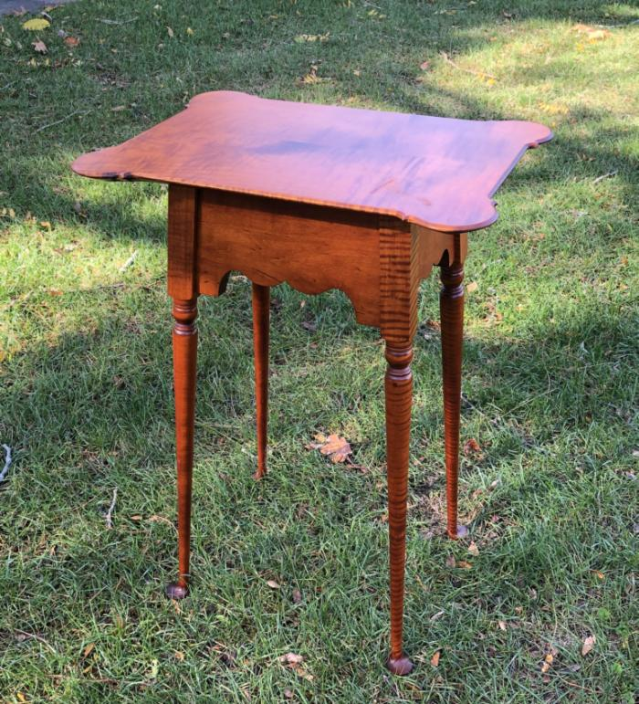 Tiger maple table with porringer top