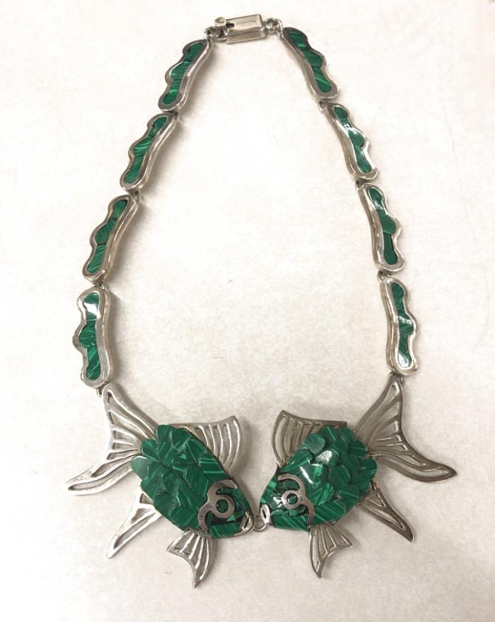 Silver and malachite kissing fish necklace c1950