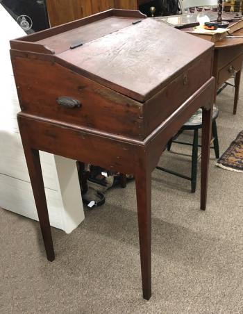 Image of Early New England pine paymasters desk in red wash c1820