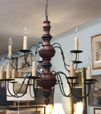 Image of Vintage Colonial hanging chandelier in red wash