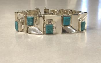 Image of Artisan Taxco sterling and turquoise hand made bracelet c1980