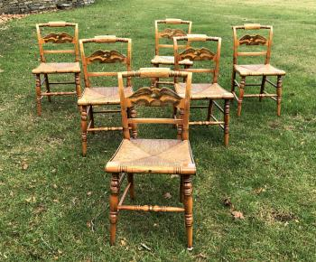 Image of Original Hitchcock maple chairs with eagle backs