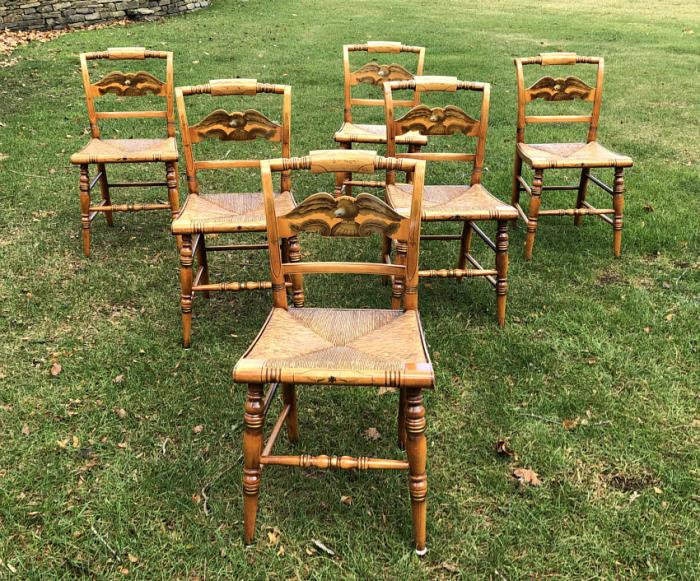 Original Hitchcock maple chairs with eagle backs