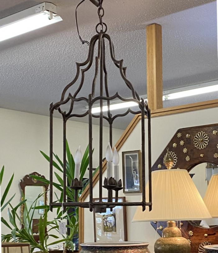 Vintage wrought iron twig lantern fixture