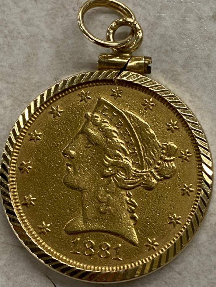 1881 Five dollar gold coin mounted in 14K bezel