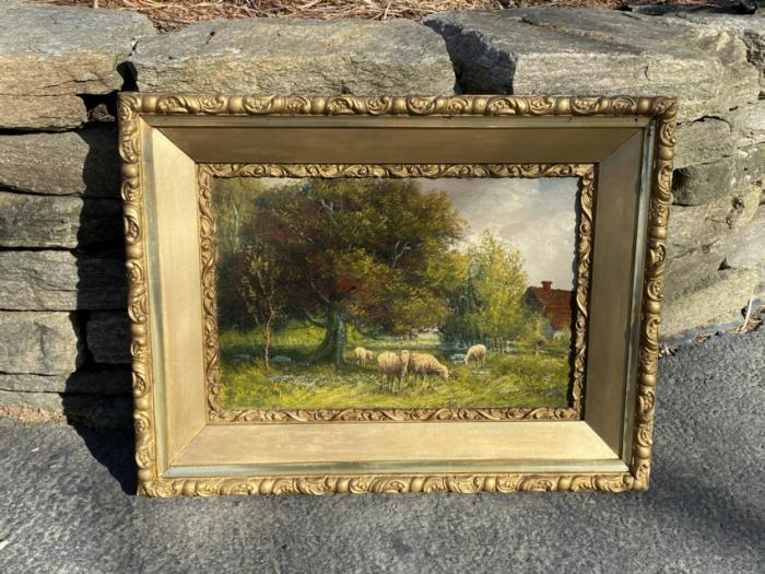 Landscape oil painting with sheep by Andrew Millrose