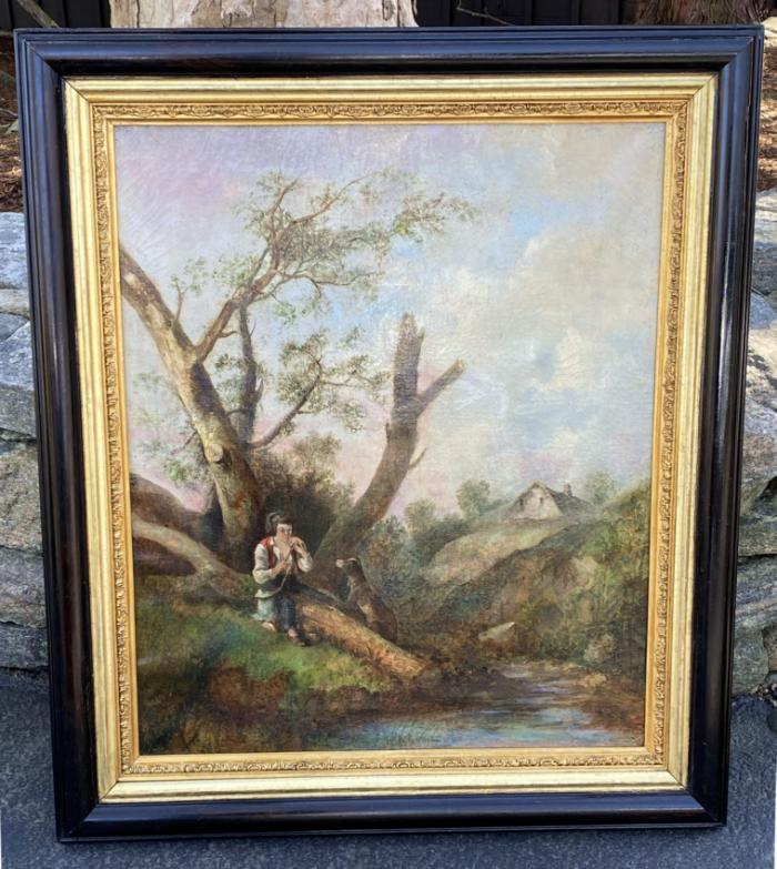 Landscape oil painting with boy and dog 19thc