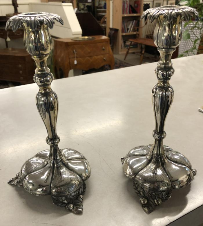 19th c European silver candlesticks