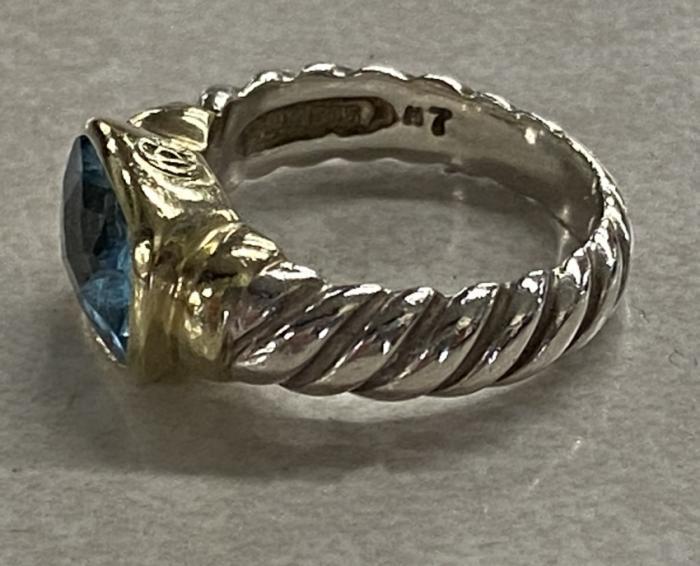 David Yurman aquamarine ring in sterling and 14k gold