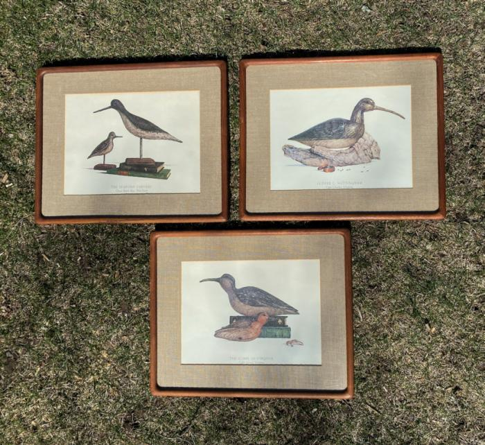 Three duck lithographs in handmade frames