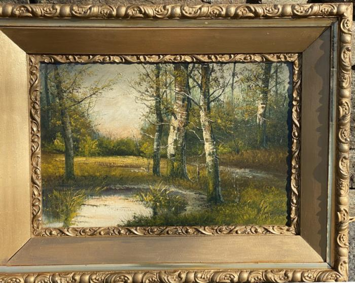Landscape oil painting with birches by Andrew Millrose