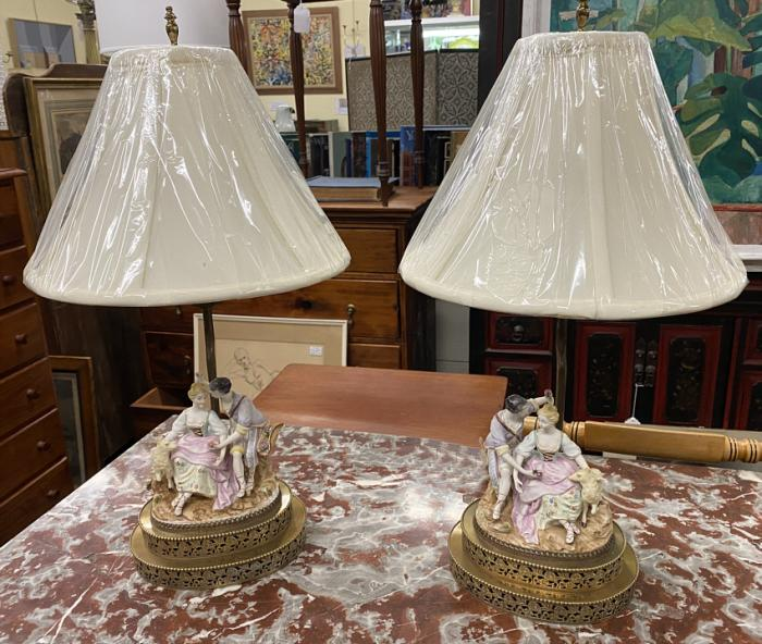 Bisque porcelain lamps shepherd and shepherdess