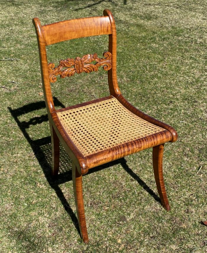 Tiger maple Federal period chair with acanthus back