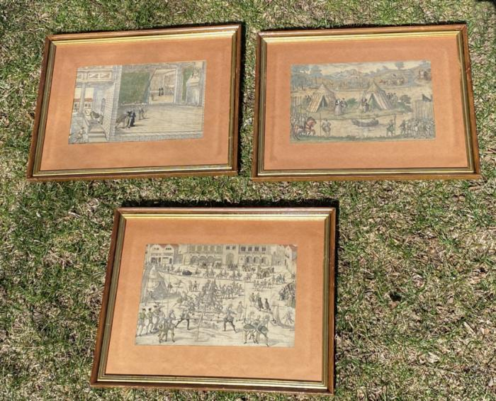 Set of 17th c Belgian colored engravings