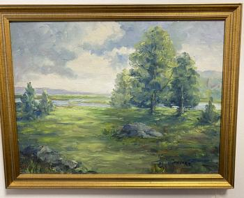 Image of M Connors impressionist landscape oil on artist board