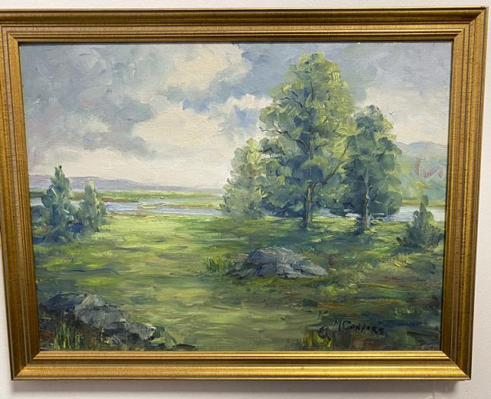 M Connors impressionist landscape oil on artist board