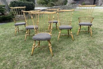 Image of Set 6  handmade Windsor Chairs in the early American style with mustard paint