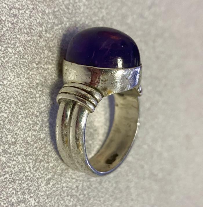 Vintage amethyst silver ring  c1930