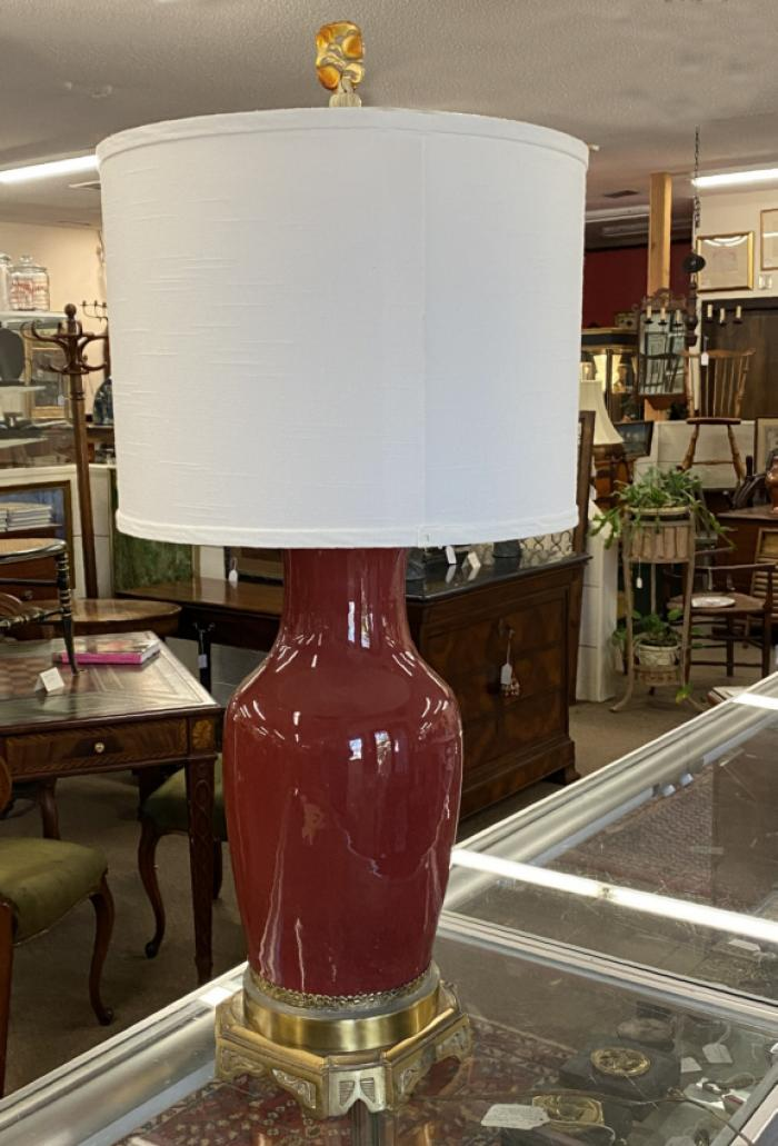 Antique Chinese oxblood lamp on bronze base