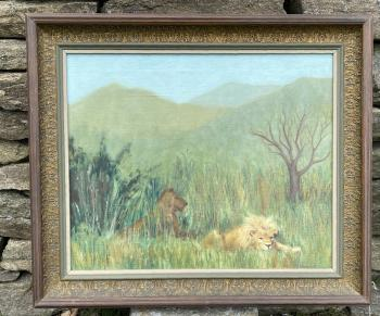 Image of Jeanette Knowles Copelin painting lions