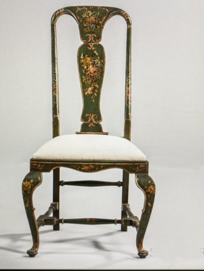 Italian polychrome painted side chair